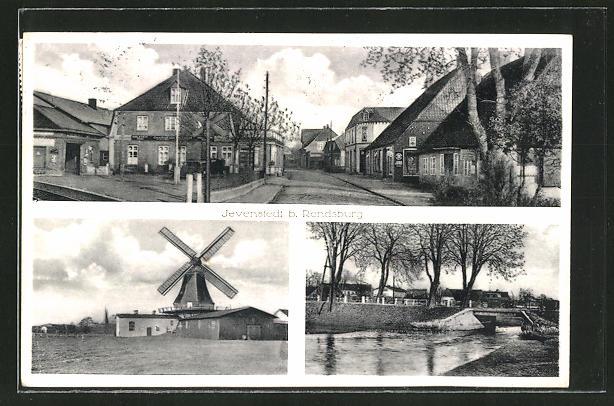 AK Jevenstedt, Windmühle, Blick in eine Strasse 0