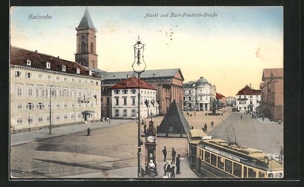 AK Karlsruhe, Markt und Karl-Friedrich-Strasse mit Strassenbahn 0