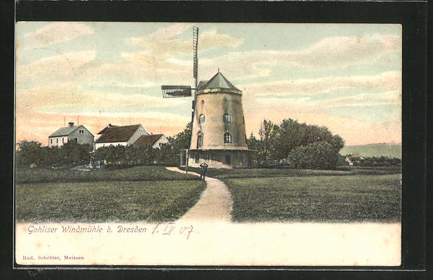 AK Gohlis, Blick zur Gohliser Windmühle 0