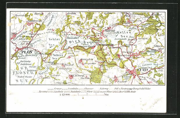 AK Eutin, Landkarte der Region westlich der Stadt