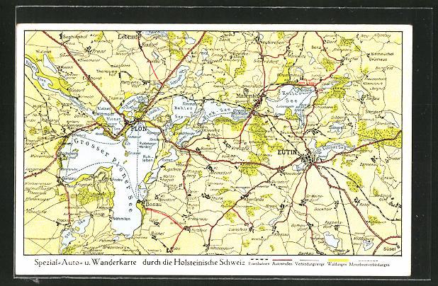 AK Plön, Landkarte der Region östlich der Stadt 0