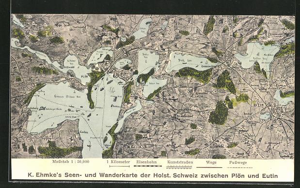 AK Eutin, Wander- und Landkarte der Holst. Schweiz 0