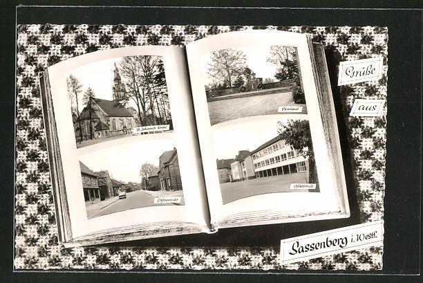 Grusskarten-AK Sassenberg i. Westf., Ansichten im Fotoalbum, Volksschule, Ehrenmal, Strassenpartie 0
