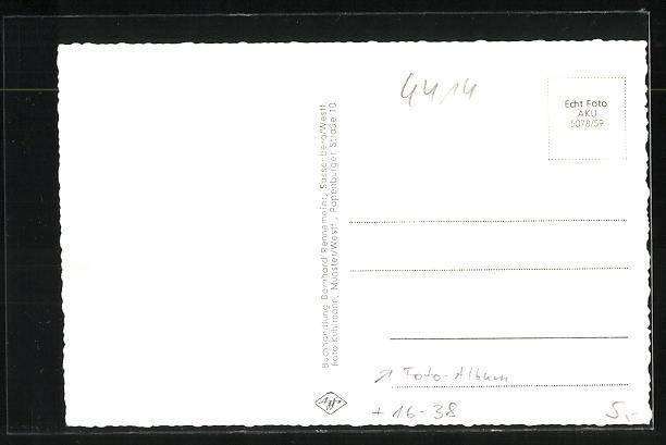Grusskarten-AK Sassenberg i. Westf., Ansichten im Fotoalbum, Volksschule, Ehrenmal, Strassenpartie 1