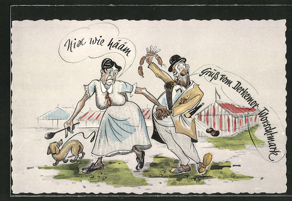 AK Bad Dürkheim, Volksfest Derkemer Worschtmark, Frau zerrt ihren betrunkenen Gatten heim 0