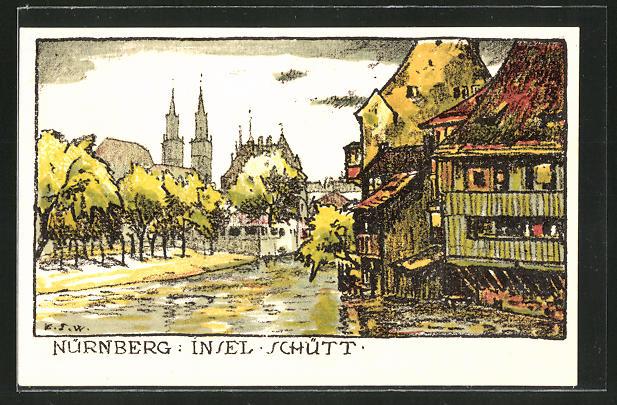 Steindruck-AK Nürnberg, Partie an der Insel Schütt 0