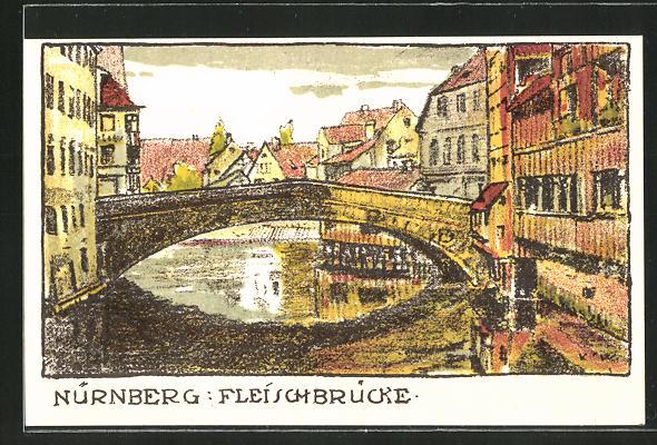 Steindruck-AK Nürnberg, Teilansicht mit Fleischbrücke 0