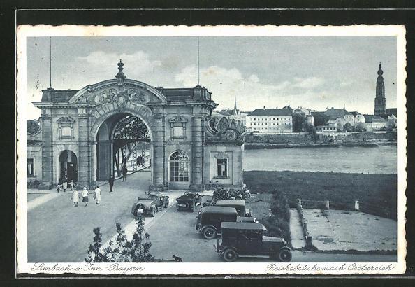 AK Simbach / Inn, Grenzübergang Reichssbrücke nach Österreich 0