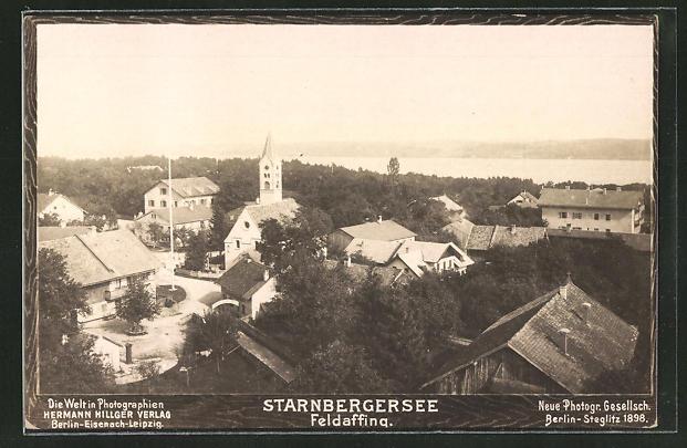 Foto-AK NPG Nr. 699: Feldafing, Ortspanorama mit Starnberger See 0