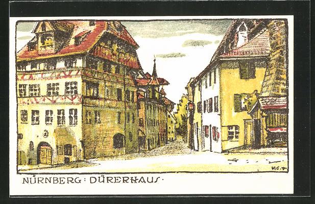 Steindruck-AK Nürnberg, Partie am Dürerhaus 0