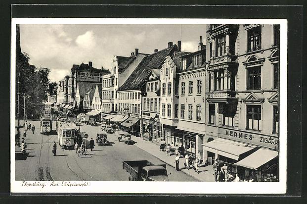 AK Flensburg, Südermarkt-Strasse mit Strassenbahnen 0