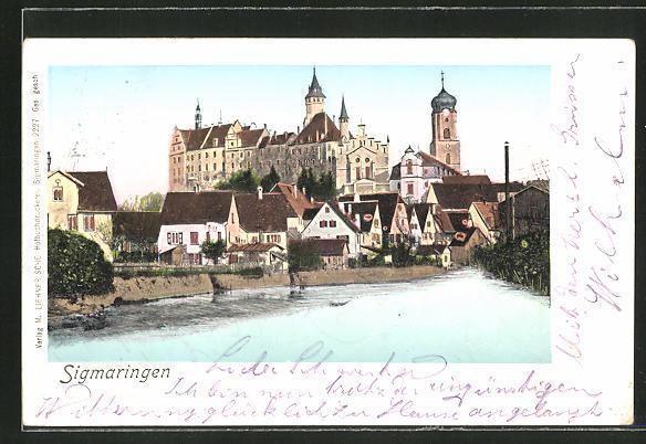 Goldfenster-AK Sigmaringen, Ortsansicht mit Schloss und leuchtenden Fenstern 0