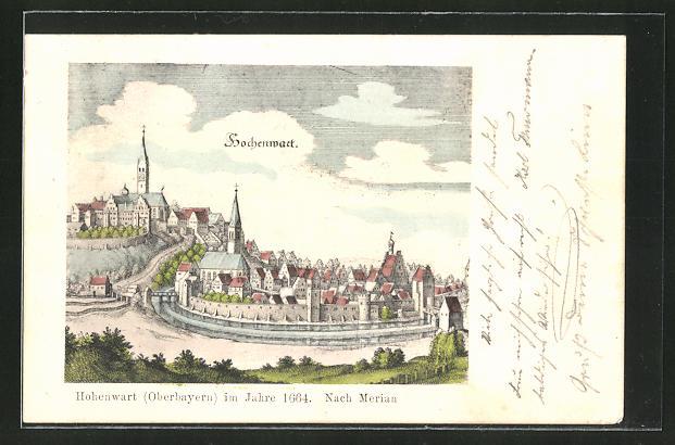 AK Hohenwart / Oberbayern, Ortsansicht im Jahre 1664 nach Merian 0