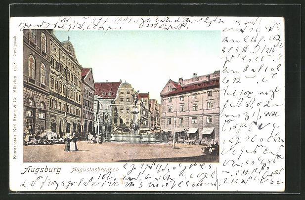 Goldfenster-AK Augsburg, Häuserpartie mit leuchtenden Fenstern am Augustbrunnen 0