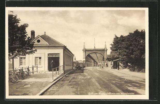 AK Kehl / Rhein, Zollhaus mit Rheinbrücke 0