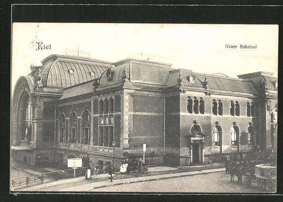 AK Kiel, Neuer Bahnhof, Teilansicht 0