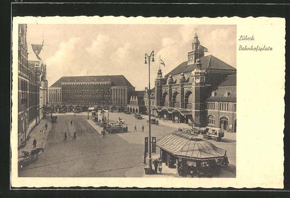 AK Lübeck, Blick auf den Bahnhofsplatz 0