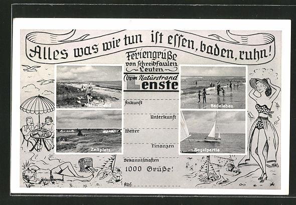 AK Lenste, Zeltplatz, Segelpartie, Badeleben 0