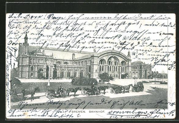 AK Bremen, Pferdekutschen vor dem Bahnhof 0
