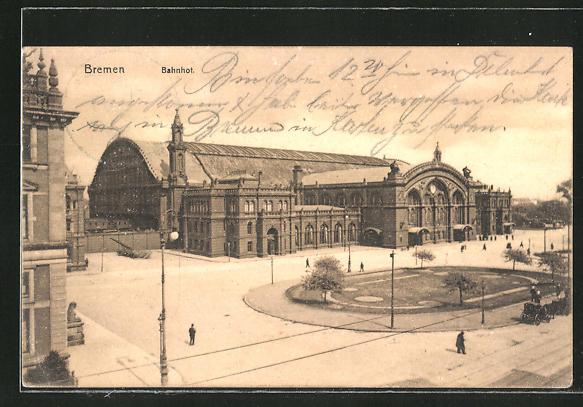 AK Bremen, Bahnhof mit Vorplatz 0