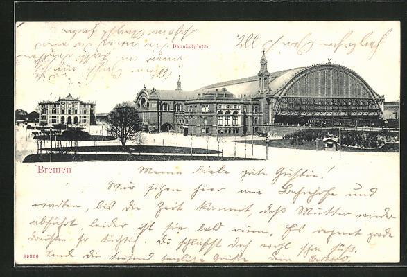 AK Bremen, Blick zum Bahnhof 0