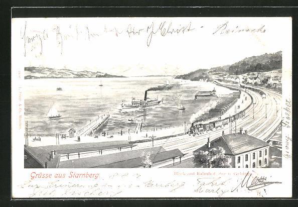 AK Starnberg, Panorama mit Bahnhof, See und Gebirge 0