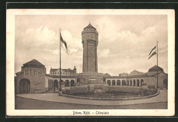 AK Düren / Rheinland, Cölnplatz mit Wasserturm 0