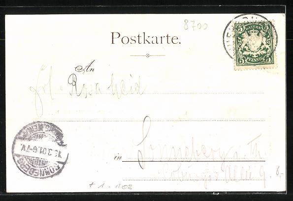AK Würzburg, Kgl. Residenz, Portrait und Geburtszimmer des Prinzregent Luitpold 1