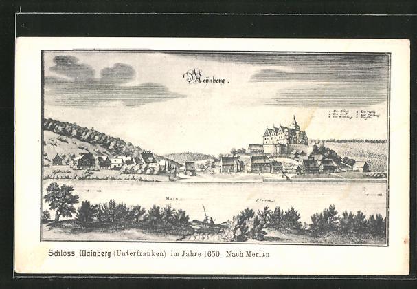 AK Mainberg / Unterfranken, Schlossansicht im Jahre 1650 nach Merian 0