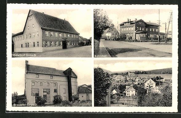 AK Oeslau, Gasthof und Brauerei Grosch, Bahnhof und Panorama
