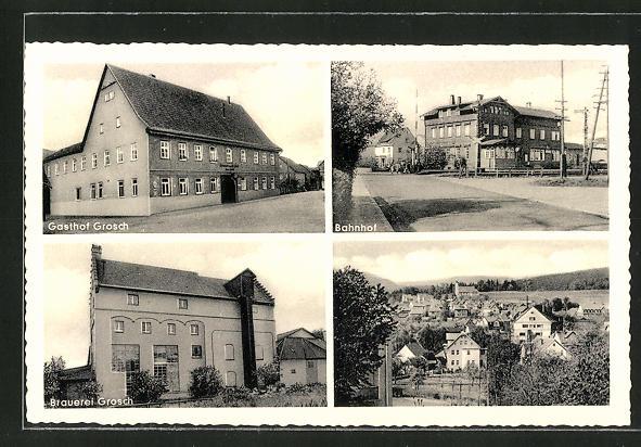 AK Oeslau, Gasthof und Brauerei Grosch, Bahnhof und Panorama 0
