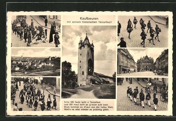 AK Kaufbeuren, Turm und verschiedene Ansichten des historischen Tänzelfestes 0