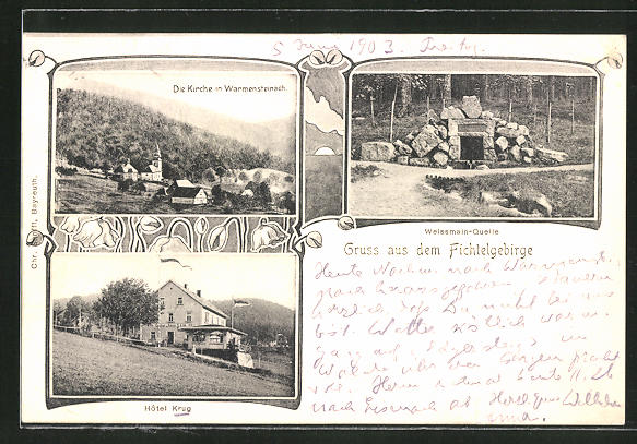 AK Warmensteinach, Teilansicht mit Kirche, Hotel Krug, Weissmann-Quelle 0