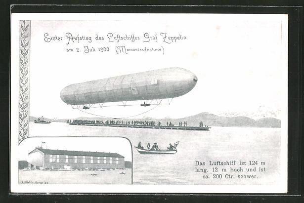 Künstler-AK Friedrichshafen, Erster Aufstieg des Luftschiffes Graf Zeppelin am 2. Juli 1900 0