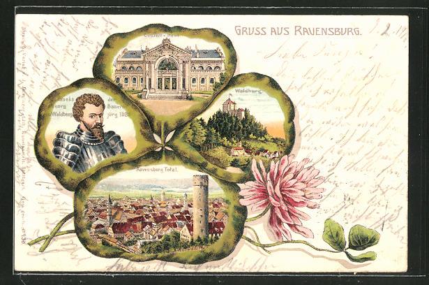 Passepartout-Lithographie Ravensburg, Totalansicht, Waldburg, Konzerthaus und Georg von Waldburg im Kleeblatt 0