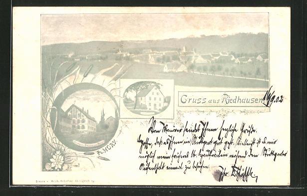 AK Riedhausen, Panorama und Gasthaus & Brauerei zum Adler 0