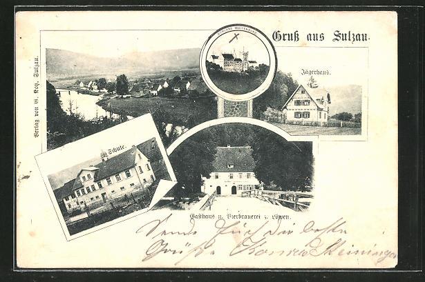 AK Sulzau, Panorama, Gasthaus-Brauerei z. Löwen und Jägerhaus