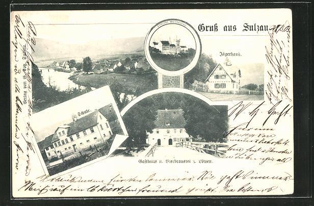 AK Sulzau, Gesamtansicht, Gasthaus-Brauerei z. Löwen und Jägerhaus 0