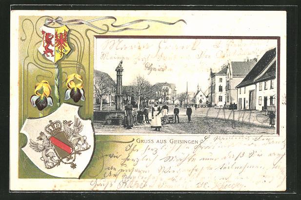 Passepartout-Lithographie Geisingen, Ortspartie mit Brunnen und Wappen 0