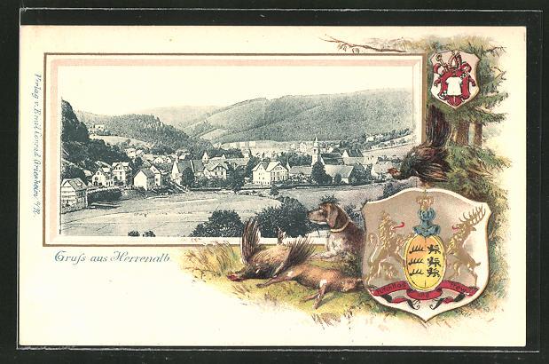 Passepartout-Lithographie Herrenalb, Panorama und Wappen 0