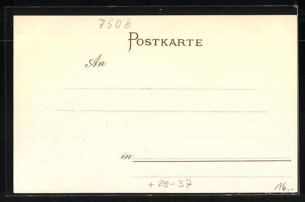 Passepartout-Lithographie Herrenalb, Panorama und Wappen 1