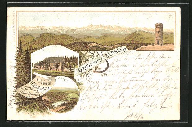 Vorläufer-Lithographie Feldberg, Panorama mit Hotel Feldberger Hof und Feldbergsee, 1893 0
