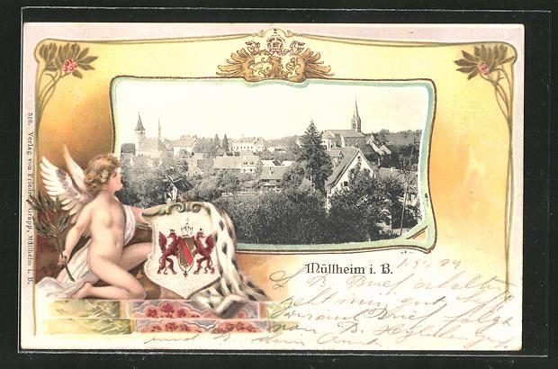 Passepartout-Lithographie Müllheim i. B., Gesamtansicht und Engel mit Wappen 0
