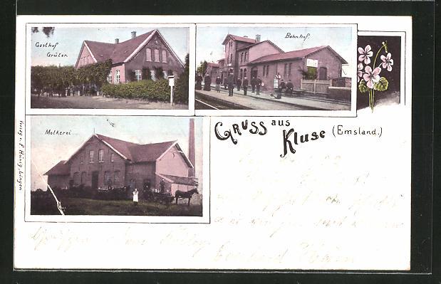 AK Kluse, Gasthof Grüter, Bahnhof und Molkerei 0