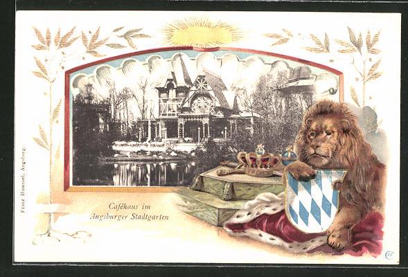 Passepartout-Lithographie Augsburg, Caféhaus im Augsburger Stadtgarten, Löwe mit Wappen 0