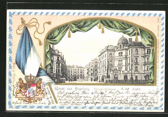 Passepartout-Lithographie Augsburg, Teilansicht mit Bismarckstrasse, Wappen und Fahne 0