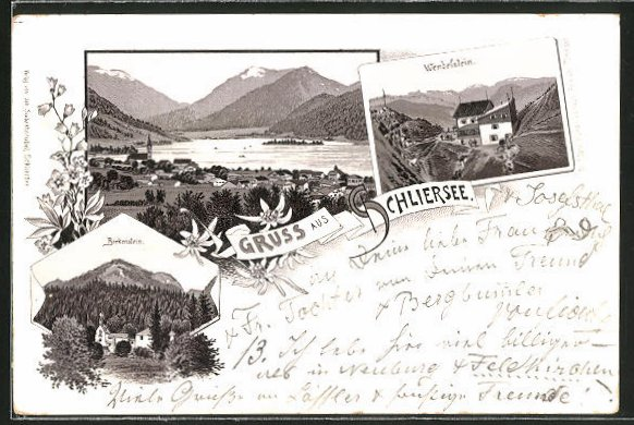 Vorläufer-Lithographie Schliersee, Panorama, Wendelstein und Birkenstein, 1894 0
