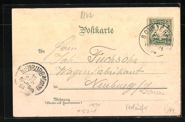 Vorläufer-Lithographie Schliersee, Panorama, Wendelstein und Birkenstein, 1894 1