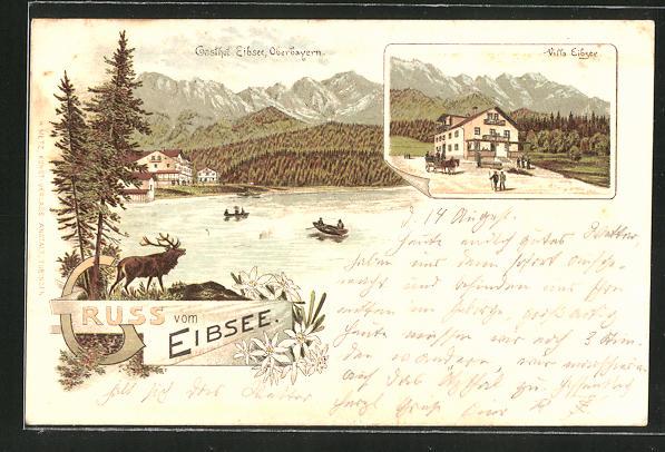 Vorläufer-Lithographie Eibsee / Oberbayern, Blick zum Gasthof und Villa Eibsee, 1894 0