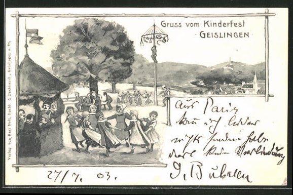 Lithographie Geislingen, Kinder tanzen Ringelreihen auf dem Kinderfest 0